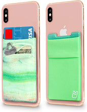 (Two) Stretchy Cell Phone Stick on Wallet Card Holder Phone Pocket for iPhone, Android and All Smartphones