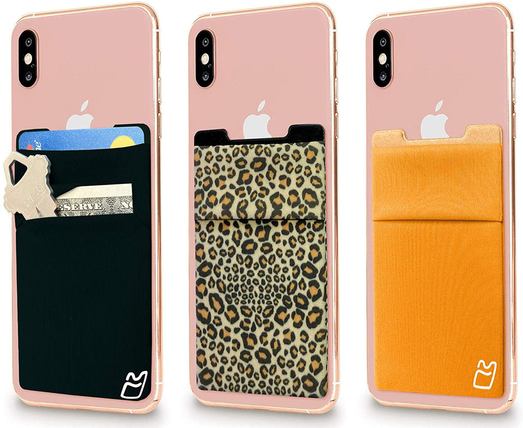(Three) Stretchy Cell Phone Stick on Wallet Card Holder Phone Pocket for iPhone, Android and All Smartphones. (Cheetah&Orange&Black)