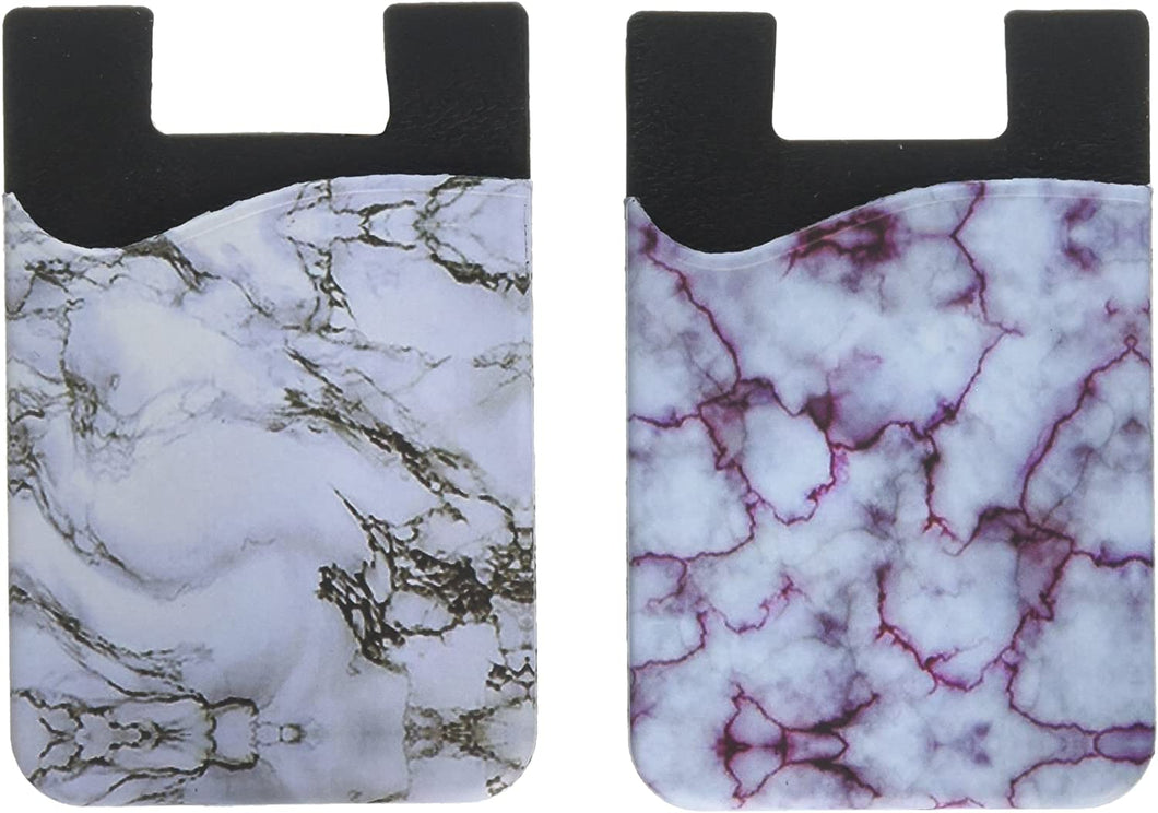 (Two) Marble Cell Phone Stick on Wallet Card Holder Phone Pocket for iPhone, Android and All Smartphones.