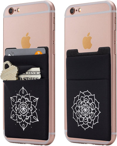(Two) Stretchy Mandala Cell Phone Stick on Wallet Card Holder Phone Pocket for iPhone, Android and All Smartphones.