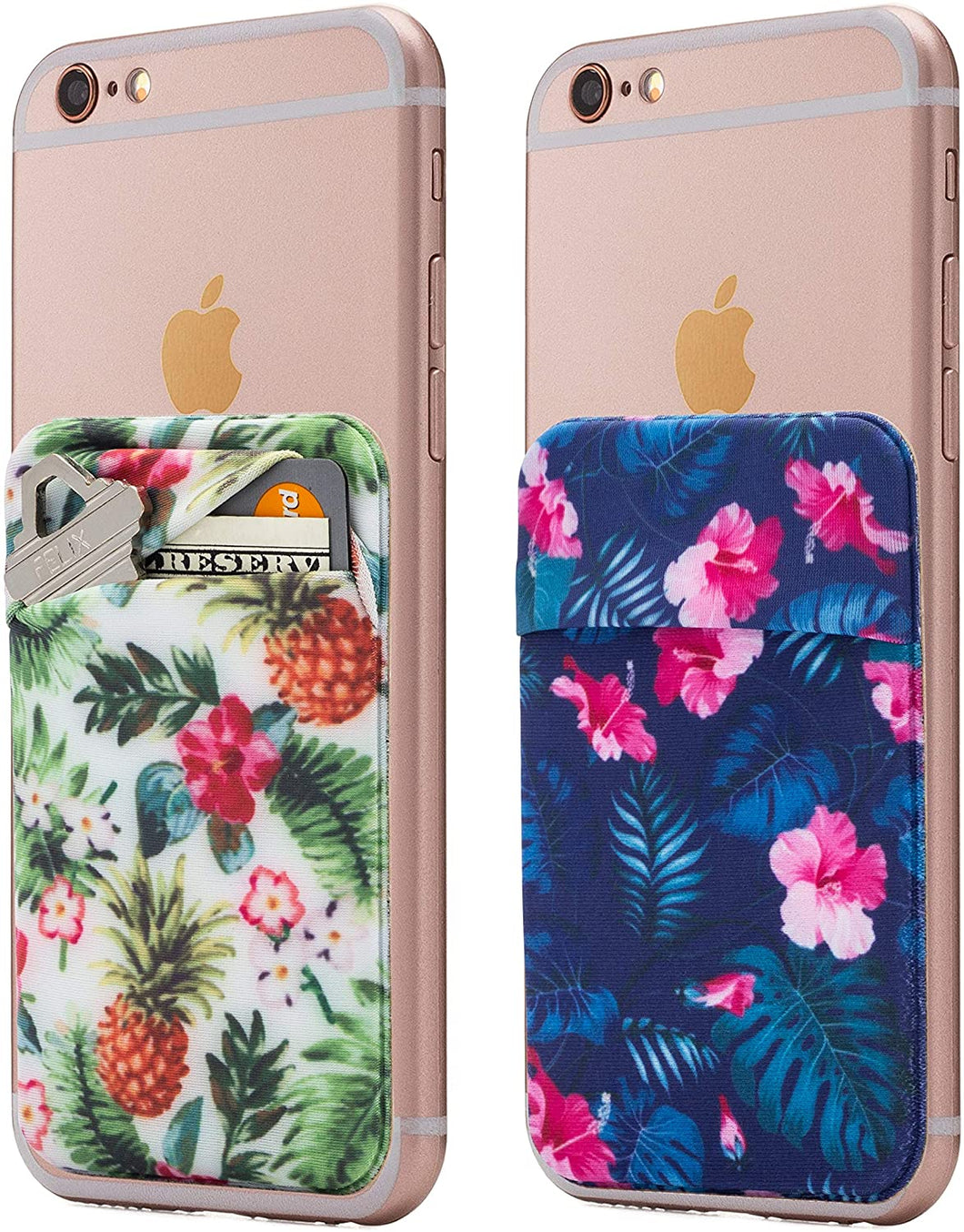 (Two) Stretchy Full Cover Tropical Cell Phone Stick On Wallet Card Holder Phone Pocket for iPhone, Android and All Smartphones.