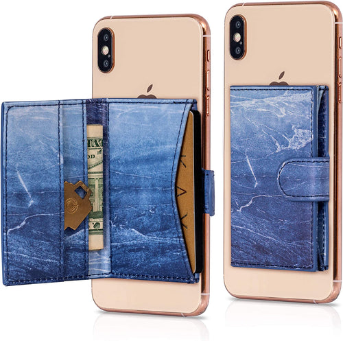 Cell Phone Card Holder Stick on Wallet Phone Pocket for iPhone, Android and All Smartphones (Dark Blue)