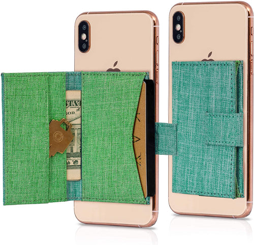 Cell Phone Card Holder Stick on Wallet Phone Pocket for iPhone, Android and All Smartphones Fabric Green