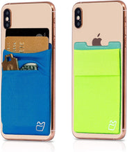 (Two) Stretchy Cell Phone Stick on Wallet Card Holder Phone Pocket for iPhone, Android and All Smartphones Blue & Green