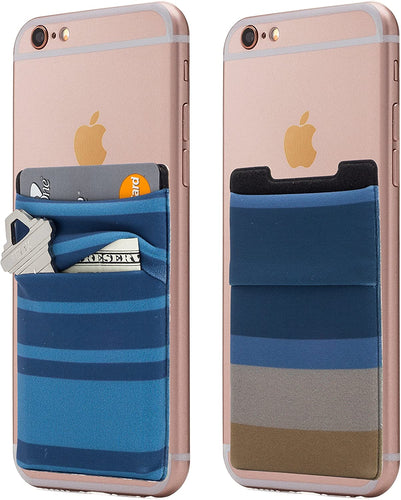 (Two) Stretchy Fabric Cell Phone Stick On Wallet Card Holder Phone Pocket for iPhone, Android and All Smartphones. (Blue&Tan)