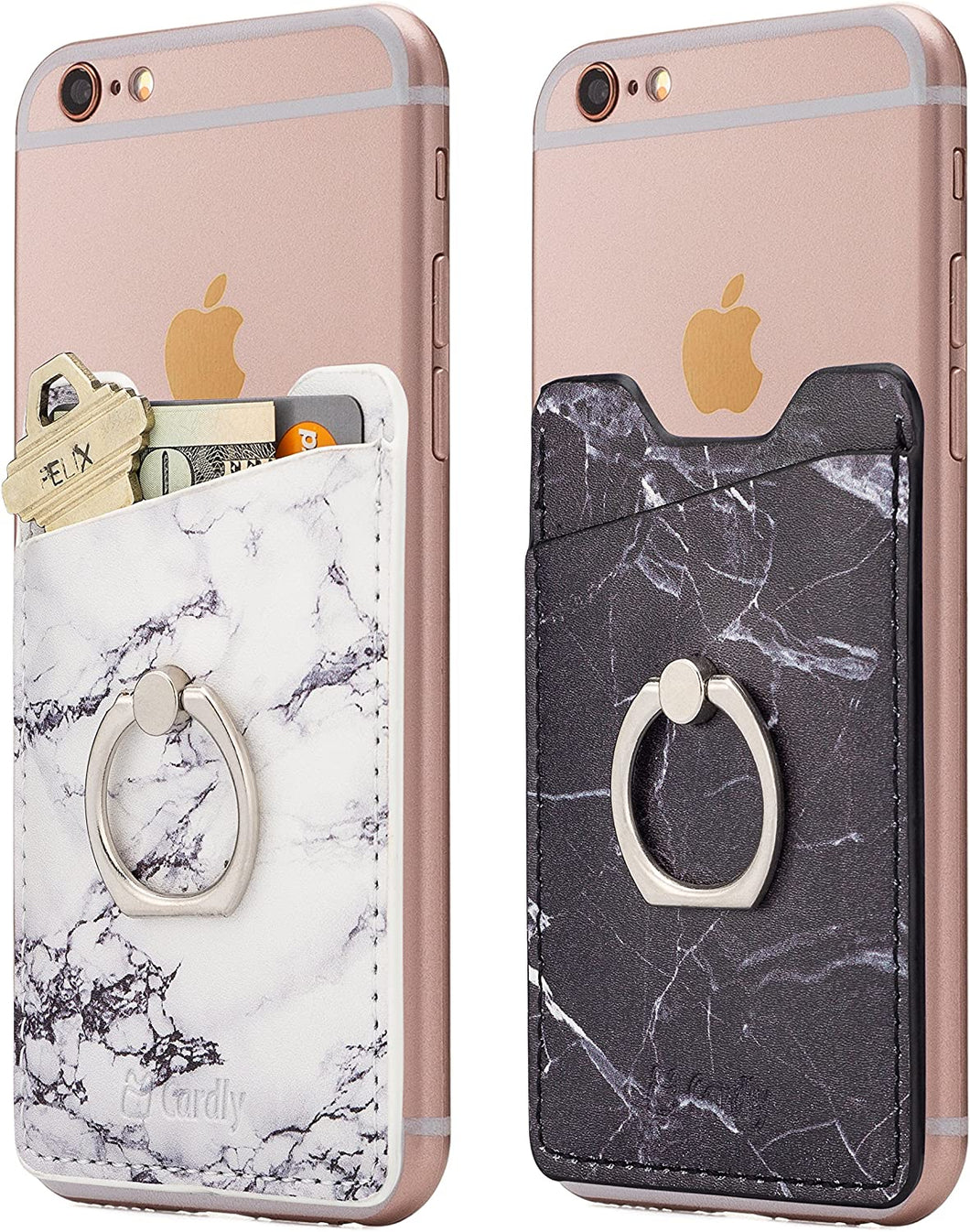 Cardly (Two) Finger Ring and Cell Phone Stick on Wallet Card Holder Phone Pocket for iPhone, Android and All Smartphones.
