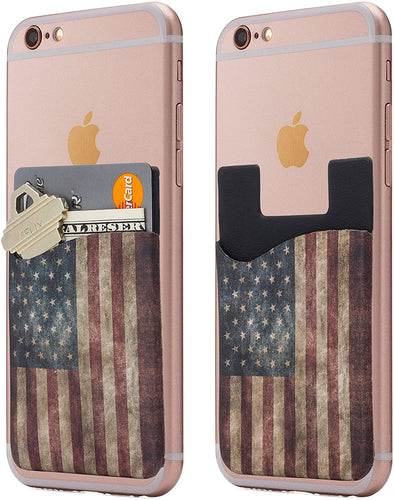 (Two) Dark American Flag Cell Phone Stick on Wallet Card Holder Phone Pocket for iPhone, Android and All Smartphones