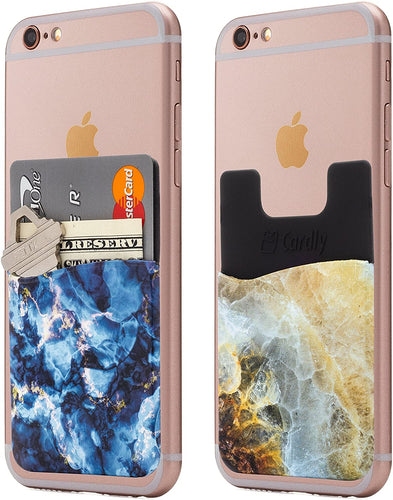 (Two) Marble Cell Phone Stick on Wallet Card Holder Phone Pocket for iPhone, Android and All Smartphones (Blue)