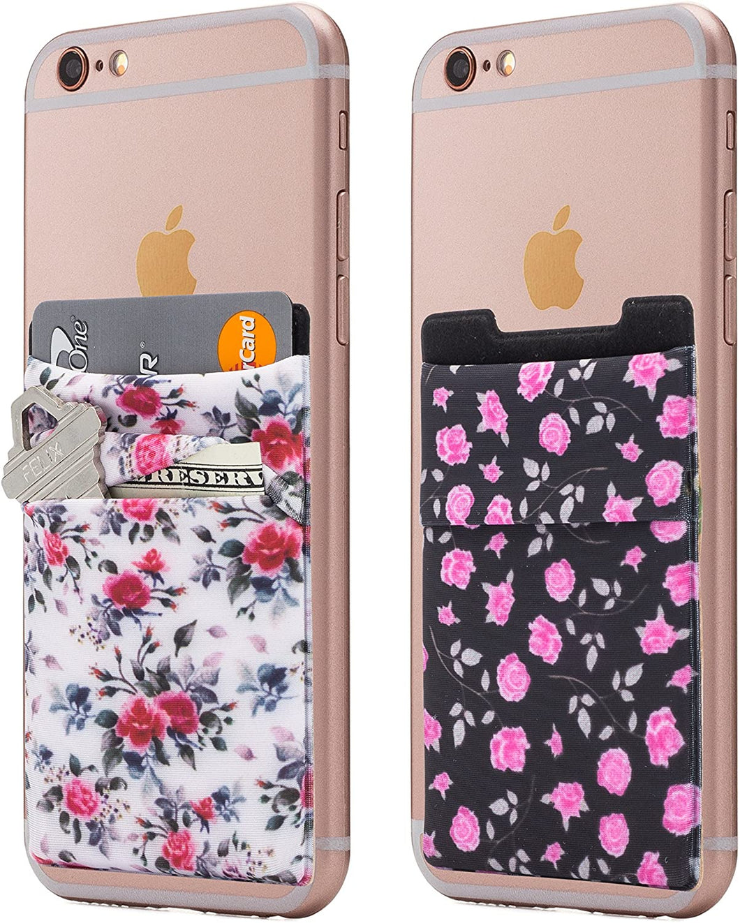 (Two) Stretchy Cell Phone Stick On Wallet Card Holder Phone Pocket for iPhone, Android and All Smartphones.