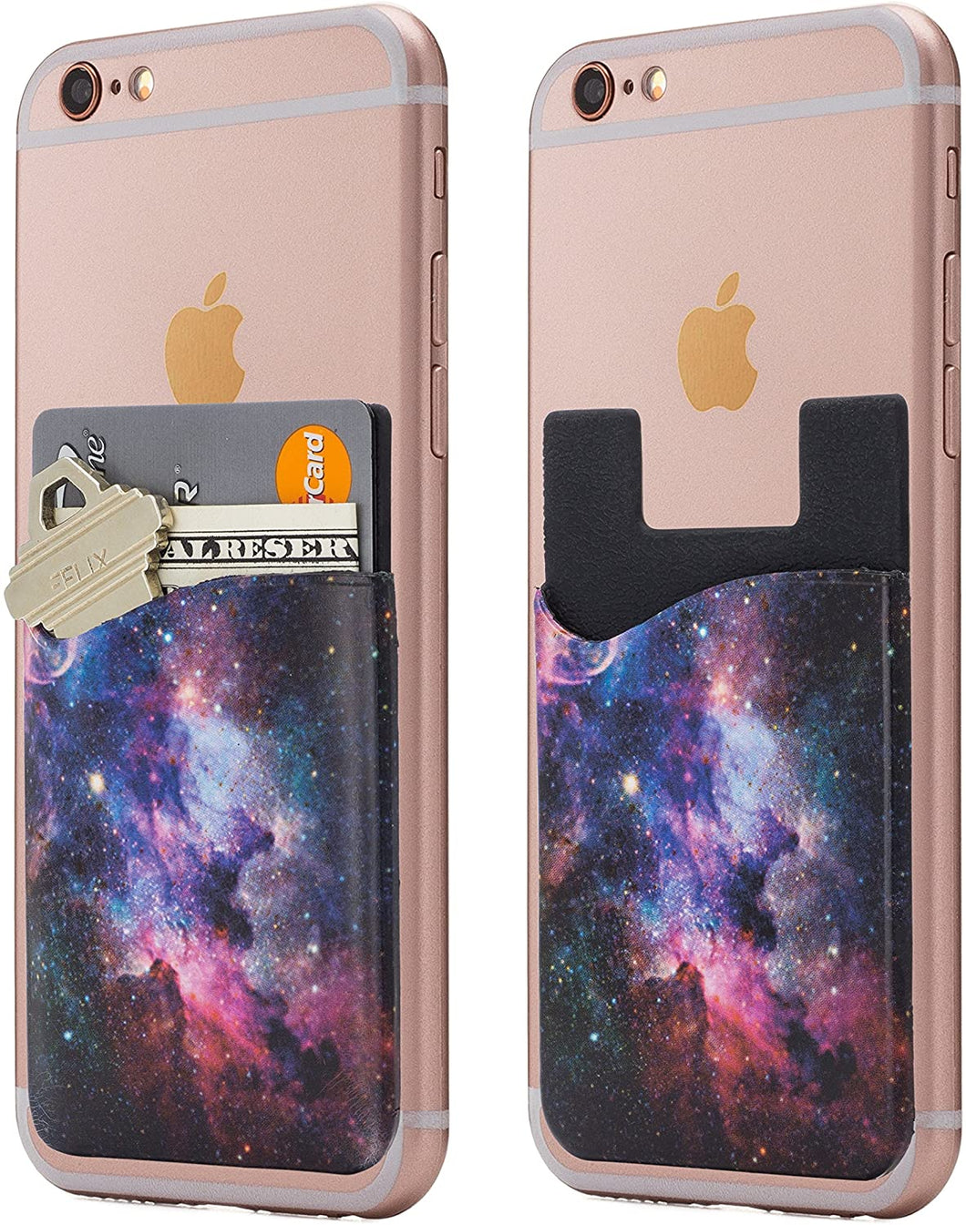 (Two) Galaxy cell phone stick on wallet card holder phone pocket for iPhone, Android and all smartphones.
