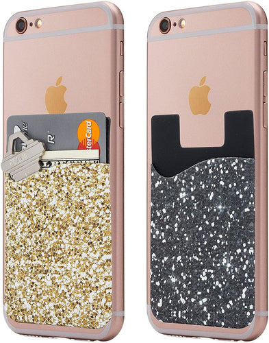 Cardly (Two) Cell Phone Stick on Wallet Card Holder Phone Pocket for iPhone, Android and All Smartphones.