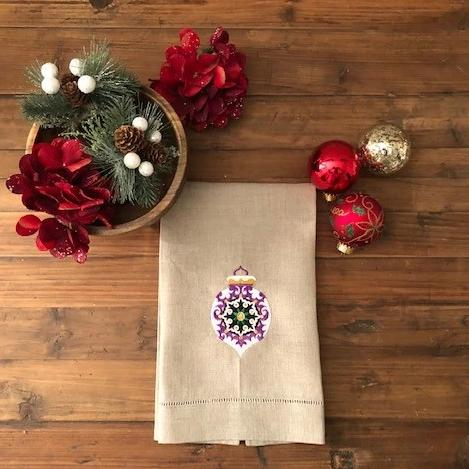 Around the World Purple Guest Towel