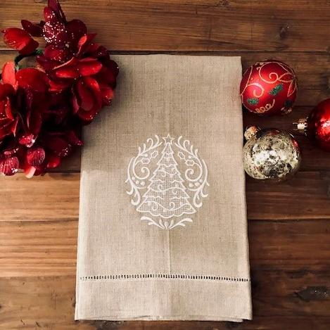 Christmas Tree Whiteworks Guest Towel