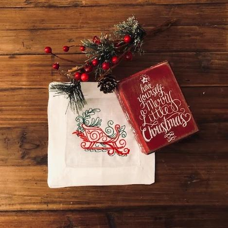 Santa's Sleigh Cocktail Napkins (Set of 2)