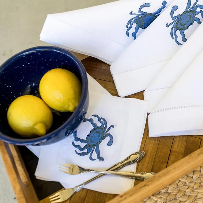 Carolina Blue Crab Cocktail Napkins