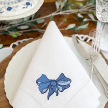 Load image into Gallery viewer, Blue Bow Dinner Napkins