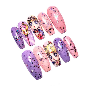 NOUVEAU- Pastel Sailor Moon- Ongles Press-On Peint  A La Main