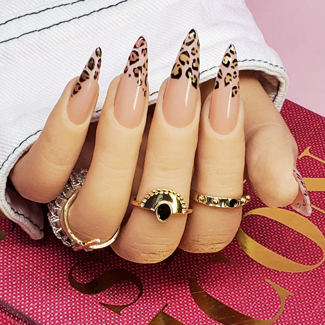 CHEETAH PRINT - Hand-Painted Press-On Nails