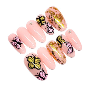 BUTTERFLY + Hand-Painted Press-On Nail set - SIZE M