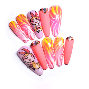 "SUPER NANAS ROSE ZEBRE  - Ongles ""Press-On"" Gel - TAILLE M"