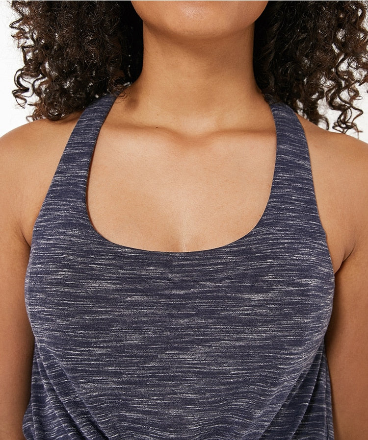 Women's Two-In-One Loose Comfortable Sleeveless Vest Short With Bra Fit Gym Tank Top Women Workout Tops Joga Womens  Sportswear