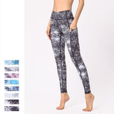 Pocket Joga Pants Geometric Print Women Sport Leggings Fitness Feminina Gothic Legging Push Up High Waist  Elastic Gym Trousers