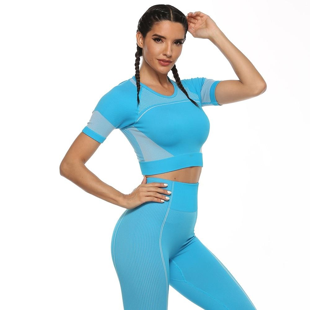 New Seamless Leggings Quick-dry Joga Set Gym Workout Sport Fitness Suit Crop Top High Waisted Tracksuit Female 2 Piece