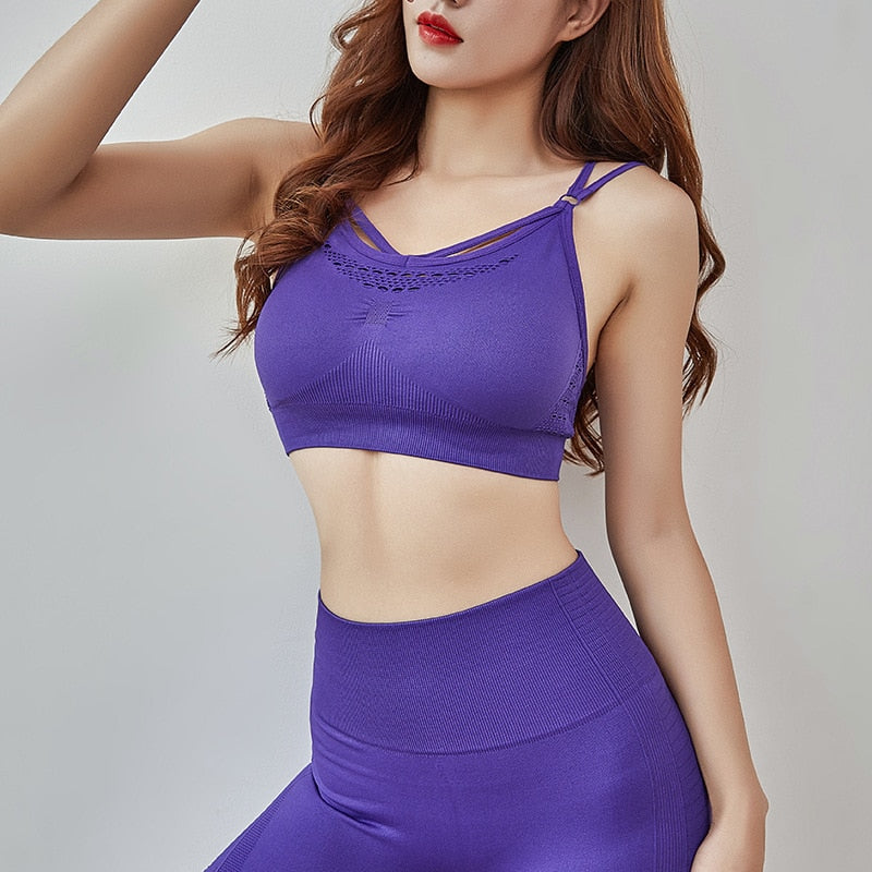 Women sexy Sport Sets Top bra Hollow Out training Brassiere Fitness Sports Tank Top Female Sport Bra Push Up Shorts 2 piece sets