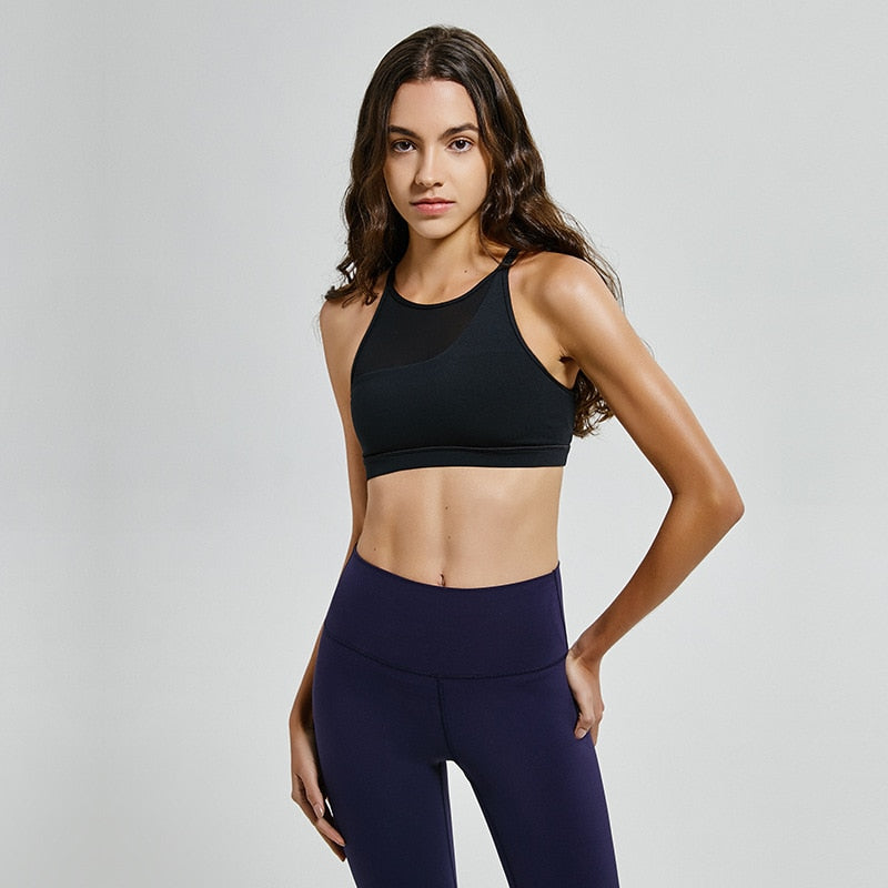 Sexy Fashion Round Neck Chest Mesh Women Sports Bra Top Gym Fitness Quick Drying Tight Bras Running Joga Clothes Sportswear