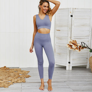 Women Seamless Joga Sets High Waist Gym Leggings Bra Suit Fitness Running Push Up Nylon Sportswear Workout Pants 2 Piece suits