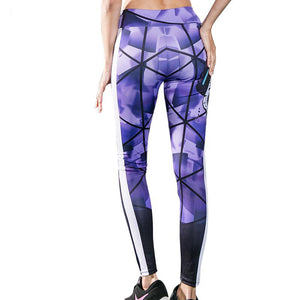 Women Slim Skull Digital Printing Leggings Striped High Waist Sport Fitness Trousers Training Joga Pants Workout Lift Buttock