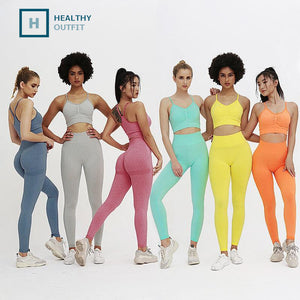 2 Piece Sports Sets Bra-Leggings Jogging Women Gym Set Clothes Seamless Workout Sexy Outfits Fitness Sports Suit Pant
