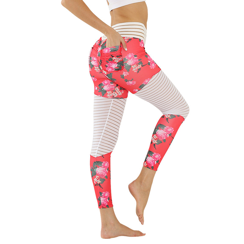 WOMEN'S POCKET LEGGINGS WITH FLORAL PATCHWORK PRINT