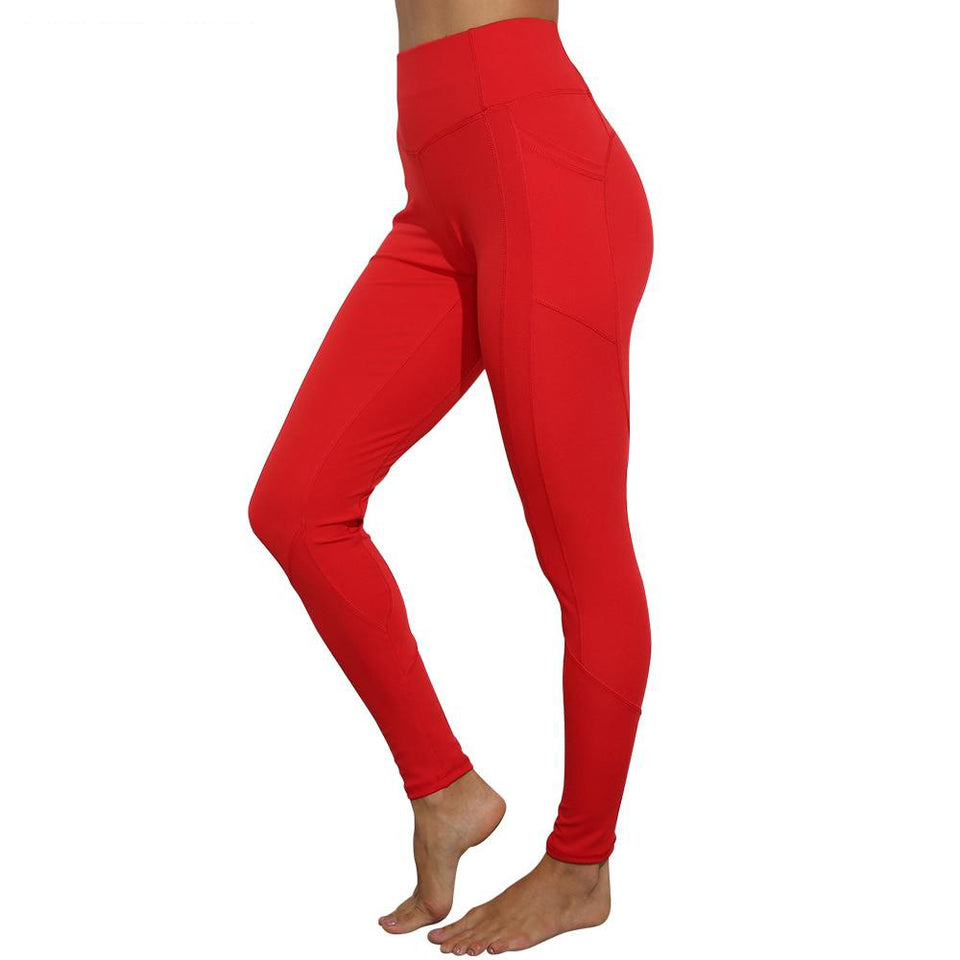 Pocket Joga Pants High Waist Sport Gym Leggings Women Stretchy Plain Training Jogger Fitness trousers pushup Soft Athletic Pants