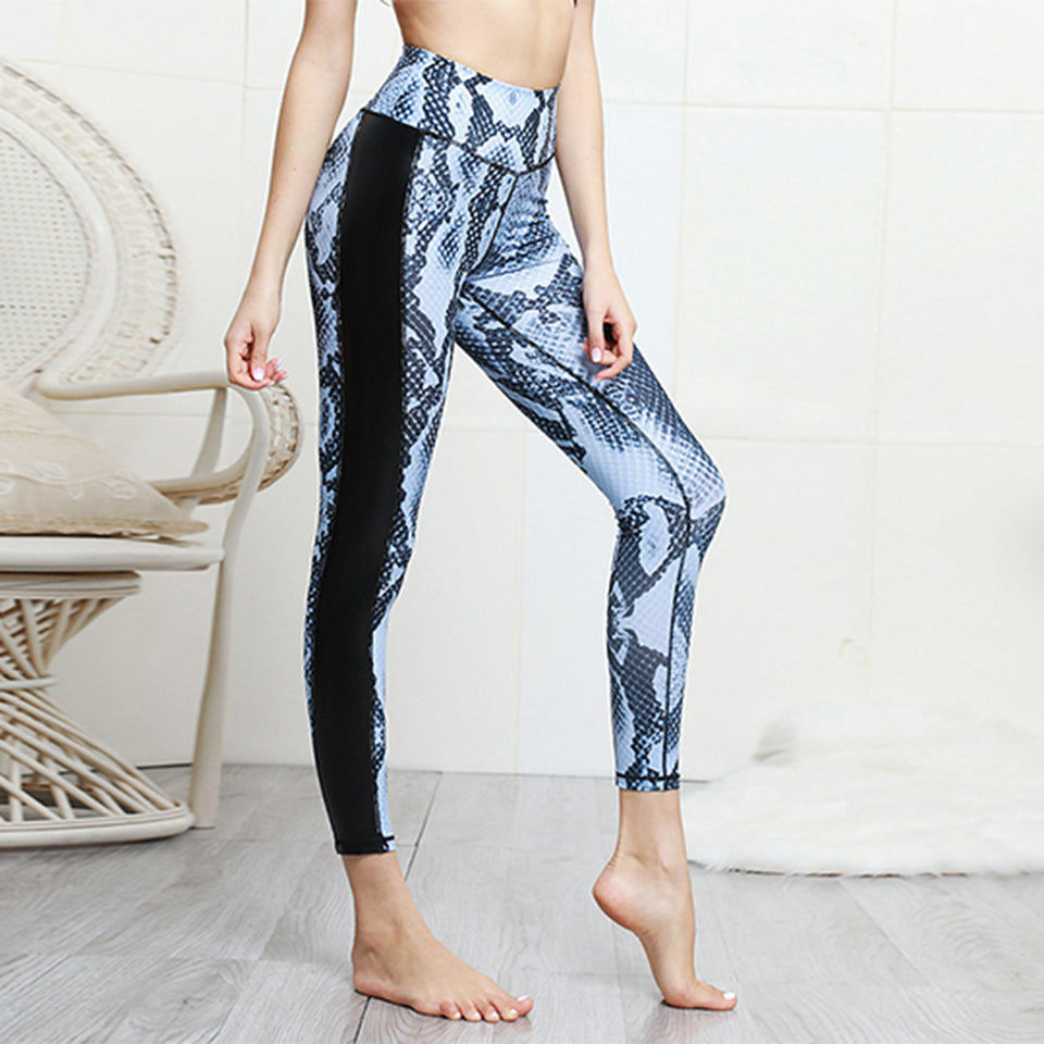 Quality Patchwok Sports Pants Women Snake Printed Leggings Push Up Fitness Sportwear Slim Jeggings High Elastic 3D Print Legging