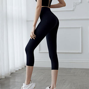 Elastic High Waist Sports Leggings Women Joga Pants Stripe Capris 3/4 Running Trouser Cropped Gym Leggins Fitness Sportwear Femal