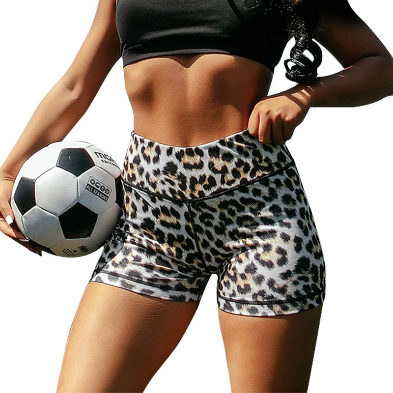 2020 Summer leopard print Gym Sport Shorts Women High Waist Elastic Booty Scrunch Joga Fitness leggings