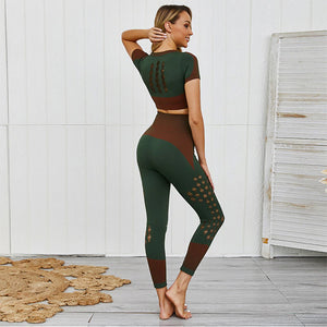 Fashion Gym Joga Set 2 Piece Sport Leggings Hollow Mesh Sexy Women Compression Workout Push Up leggings