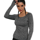 Causl Women Long Sleeve Running T-Shirts With Finger Outdoor Clothes Quick Dry Fitness Gym O-neck Tops Gray Sports Clothes