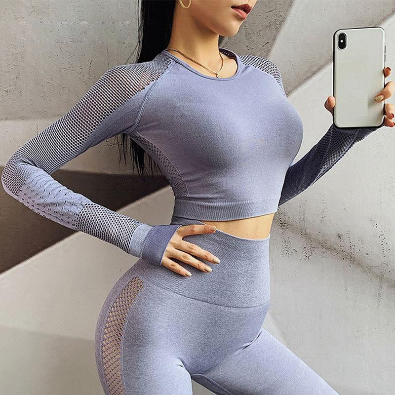 Women Seamless Set 2pcs Gym Crop Top Hollow Out Sports Fitness Compression High Waist Leggins-bra Workout PushUp Booty Sportwear