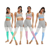 Patchwork 2Two Pieces Set Women Sexy Top Tracksuit Mujer Matching Sets Hollow out Jogging Gym Sportswear Workout Clothes Fitness