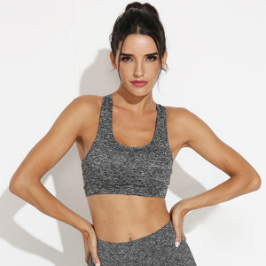 Sexy New Sport Bra Casual U Shape Crisscross Back Top Women Workout Gym Running Padded High Impact Brassiere Ladies Sports Bra