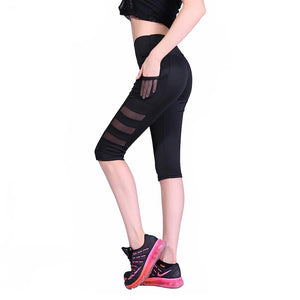 Women Side Pockets Sport Leggings Sexy Net Yarn Splicing Joga Pants Capri Breathable Mesh Patchwork Fitness Slim Skinny Leggins
