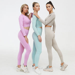 Two Piece Set Gym Workout Clothes Women Seamless Long Sleeve Shirts crop top Macaron color leggings Tracksuits Push up Sportwear