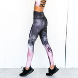 Smoke Printed Sports Sets Woman Sportswear Vest-Leggings Workout Suit Gym Clothes Fitness Jumpsuit Crop Tank Top 2pcs Matching