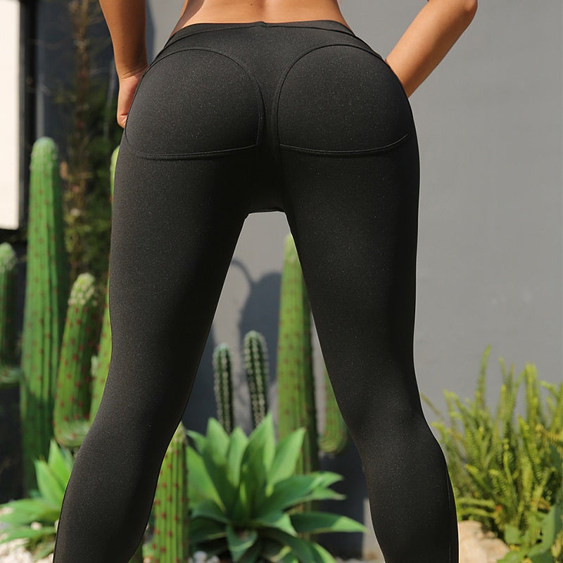 Simple Solid Color Sexy Fashion Elastic Slim Gym Fitness Pants Sport Leggings Women Compression Legging Breathable Sportswear