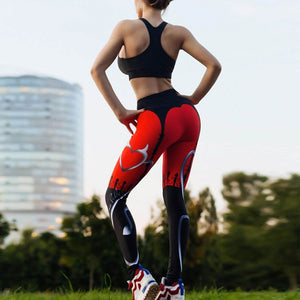 Sexy Push Up Leggings Women Devil Heart Printed Pants High Waist Gothic Leggings Workout Fitness Running