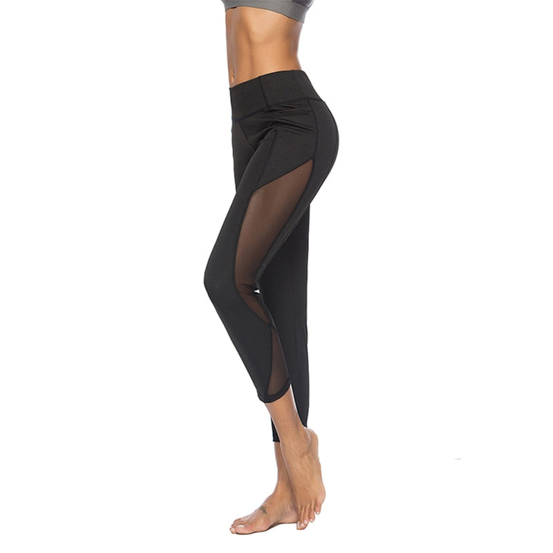 Fashion Sport Leggings Women Athleisure Mesh Patchwork Compression Legging Breathable Sportswear Elastic Slim Gym Pants Fitness