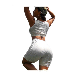 Summer Two 2 Piece Set Top Shorts Biker Women Tracksuit Workout Gym Festival Clothing Outfits Matching Sets Jogging Femme Suit