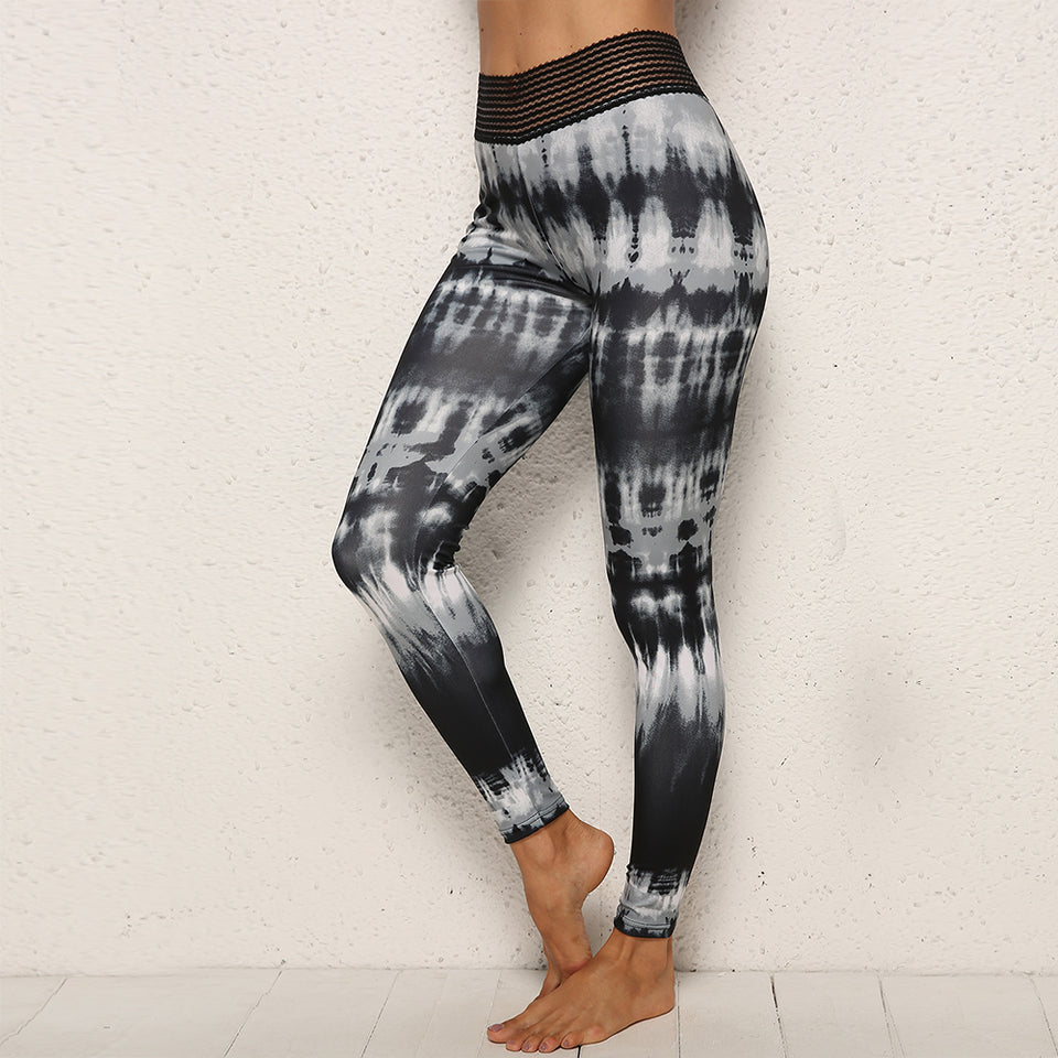 Chinese Ink Wash Painting Printed Workout Leggings Fitness Feminina sports Leggins Mujer Push Up Scrunch Panties Elastic Joggers